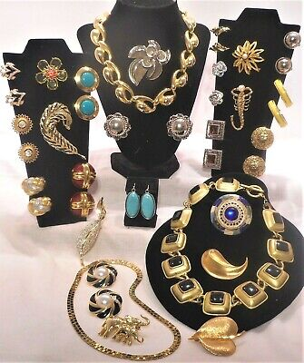 $ CDN65.28 • Buy QUALITY HIGH END VINTAGE JEWELRY LOT Earrings Necklace Brooches NOS 27 PIECES