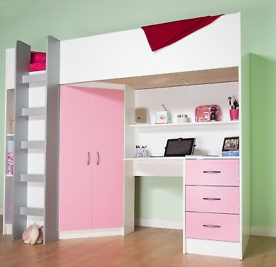£399 • Buy Cambridge Cabin Bed High Sleeper With Desk Drawer Wardrobe White And Pink R243WP