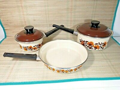 Vintage Enamelled Two Saucepan & Frying Pan Set - Induction - Cream - Floral • 24.99£