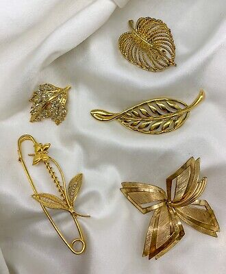 Vintage Costume Jewellery Lot. Vintage Gold Tone Brooches • 5.99£