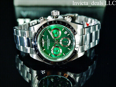 $ CDN96.72 • Buy Invicta Men's 40mm SPEEDWAY DRAGSTER Chronograph GREEN DIAL Silver Tone Watch