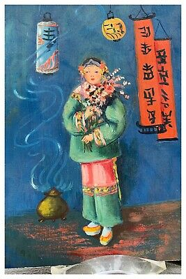 $ CDN66.72 • Buy In The Style Of Esther Hunt -Oil Painting On Board- Chinese Girl With Flowers