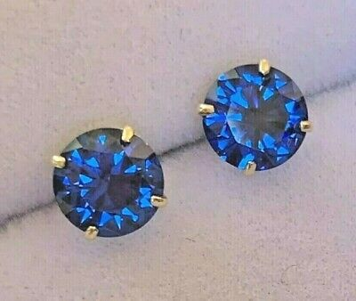 AU89.85 • Buy Brand New - Made In Usa - 14k Solid Gold - 6mm Blue Sapphire Stud Earrings