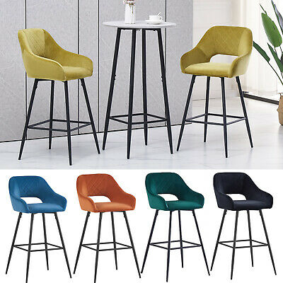 £69.99 • Buy 1/2 Velvet Breakfast Bar Stools High Counter Chairs Soft Padded Seat Kitchen Pub
