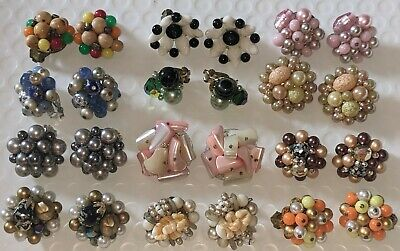 $ CDN31.38 • Buy Vintage Signed Estate Jewelry Earring Lot - 12 Pairs Of Clip-on Earrings Vtg Euc
