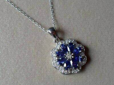 $ CDN36.33 • Buy QVC Diamonique Cz Sterling/Platinum Clad Tanzanite Colored Flower Pendant-18