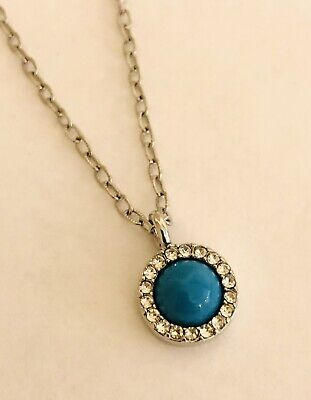 $ CDN7.27 • Buy Signed LIA SOPHIA Silver Tone Candy Dot Turquoise Rhinestone Pendant Necklace