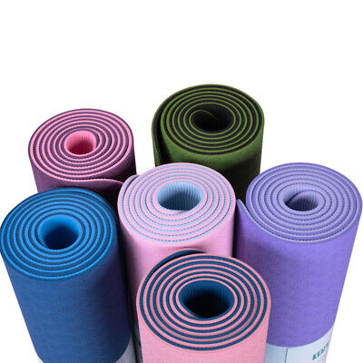 AU18.49 • Buy AU Yoga Mat Pad TPE Nonslip Exercise Fitness Pilate Gym Durable Dual Layer 6MM