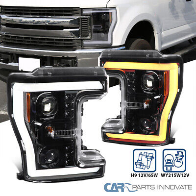 AU487.58 • Buy For 17-19 Ford F250 Pearl Black Projector Headlight+Switchback LED Signal Bar