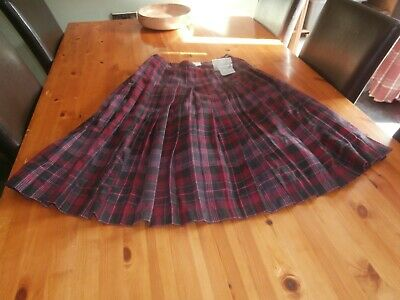 Bnwt Cotswold Collections Pure New Wool Plaid Check Pleat Kilt Skirt Size 12 • 8£