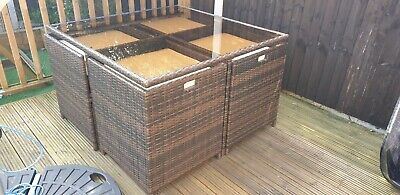 Rattan Cube Garden Furniture Set 9 Piece:Table, Chairs,stools With Storage • 549£