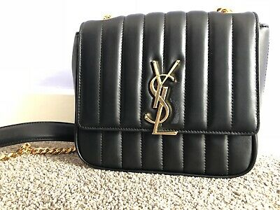 AU839 • Buy Authentic YSL Saint Laurent VICKY Quilted Lambskin Leather Bag