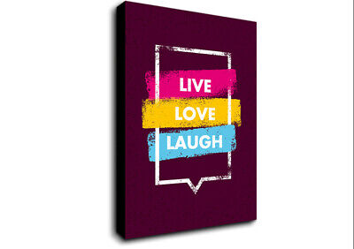 £17.99 • Buy Live Love Laugh 2 Text Quotes 20168 Canvas Print Wall Art