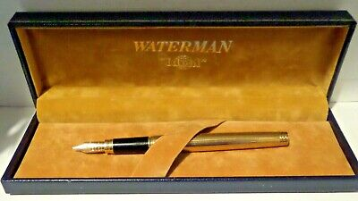 WATERMAN   Ideal  Paris, Lined Gold-plated GENTLEMAN Fountain Pen With 18k M Nib • 115£