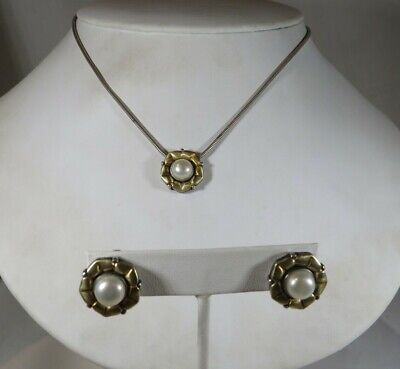 $450 • Buy Mabe Pearl Earrings And Necklace Set In Sterling Silver With 14k Gold Overlay