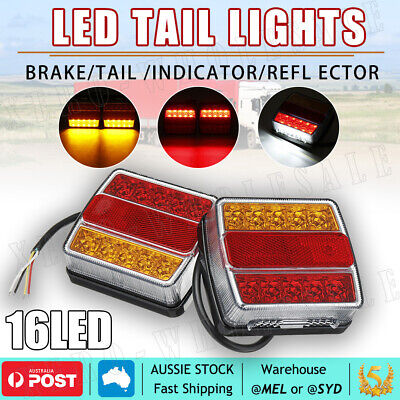 AU26.89 • Buy 2X Submersible Trailer Tail Lights 16 LED Stop Tail Lights Kit Boat Truck Lamp