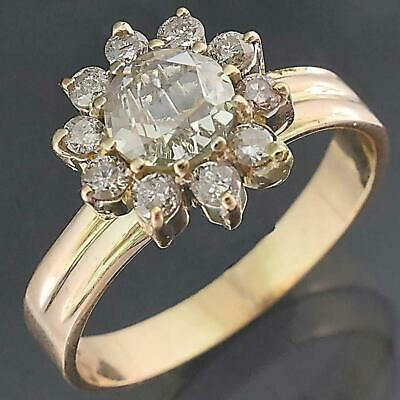 AU1250 • Buy 14k Solid Yellow GOLD 1 X ROSE CUT & 10 DIAMOND CLUSTER RING Val=$3790 Sz O1/2