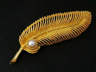 PRETTY - Goldtone Textured Single Faux Pearl Stylised Feather BROOCH • 1.45£