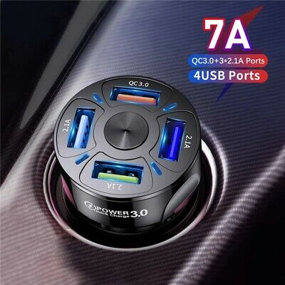 $ CDN4.01 • Buy 4 Ports USB Car Charger Adapter LED Display QC 3.0 Fast Charging For IOS Android
