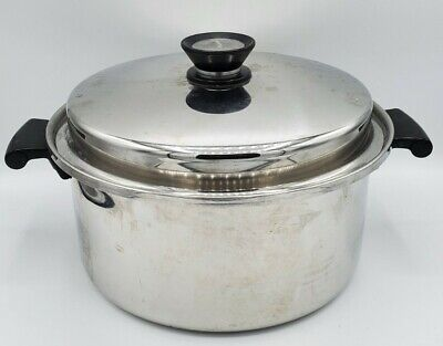 $ CDN68.74 • Buy Vintage Amway Queen 5.5 Qt Stock Pot W Lid Multi-Ply 18/8 Stainless Steel USA