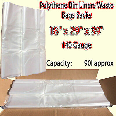 £5.49 • Buy Large Plastic Clear Polythene Bin Liners Waste Bags Sacks Size 18 X29 X39  140 G