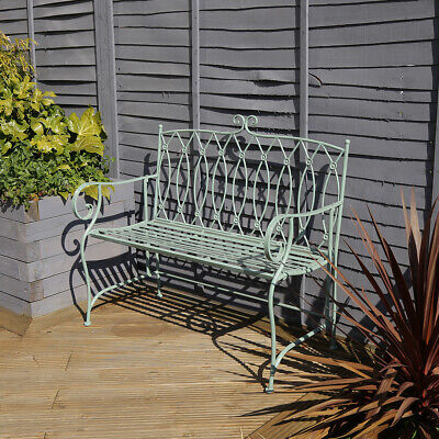 Charles Bentley Decorative Wrought Iron Outdoor Rustic Bench - Sage Green • 129.99£