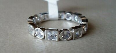 $ CDN33.82 • Buy QVC Diamonique Cz Sterling/Platinum Clad Bezel Set Eternity Band Ring-sz 8