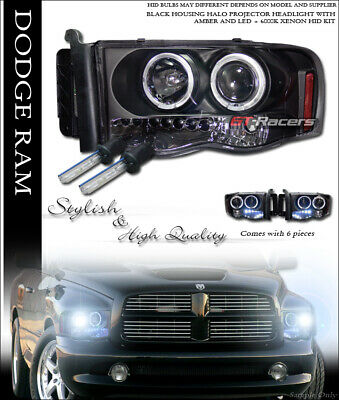 $196 • Buy 6000K Hid Xenon Black Drl Led Halo Projector Headlights Lamps For 2002-2005 Ram