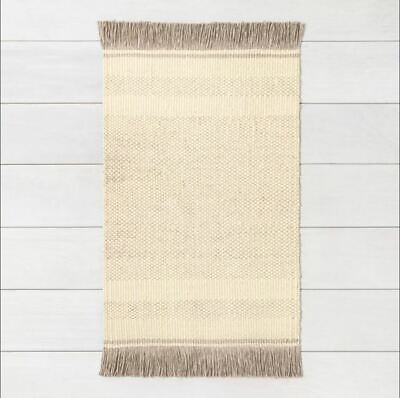 $24.99 • Buy Hearth & Hand With Magnolia 2'x3' Jute Rug Cream With Gray Fringe And Pattern
