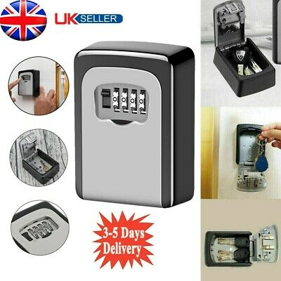 High Security 4 Digit Outdoor Storage  Wall Mounted Key Safe Box Code Lock UK • 8.99£