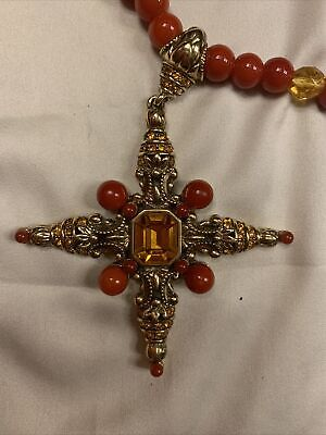 $ CDN20.04 • Buy Beaded  Glass ? Orange Topaz Light Brown Maltese Cross Necklace QVC ? HSN ?