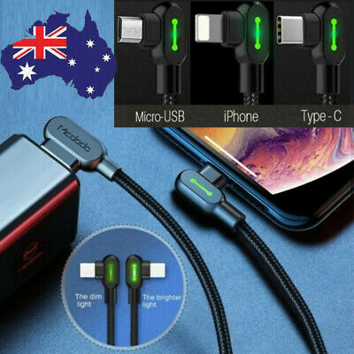AU15.99 • Buy TITAN POWER+LED Mobile Type-C Micro-USB IPhone 12 Smart Fast Charging Data Cable