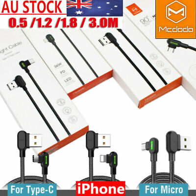 AU16.99 • Buy MCDODO LED Fast Smart Charging Data Sync Cable For IPhone Type-C Micro-USB Cable