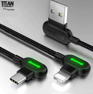 AU15.99 • Buy TITAN POWER+LED Fast Smart Charging Cable Data For Type-C, IPhone12 XS,Micro-USB