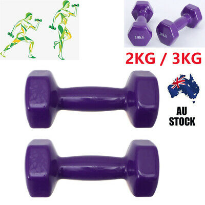 AU29.99 • Buy 1 Pair 2/3kg Dumbbells Weights Home Gym Fitness Aerobic Exercise Iron Pair Hand
