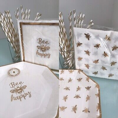 £6.95 • Buy Bee Happy Gold Bumble Bee Disposable Birthday Party Tableware Cups Plates Napkin
