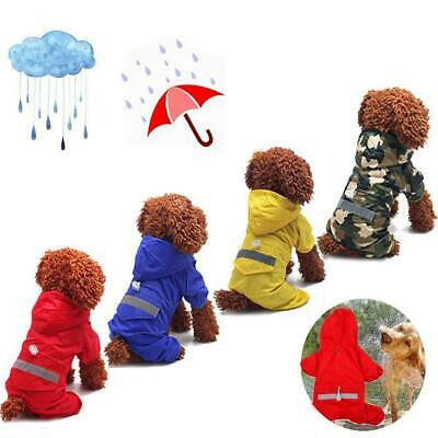 Pet Rain Coat For Puppy Waterproof Jacket Rainwear Hooded Reflective Clothes HS • 7.74£