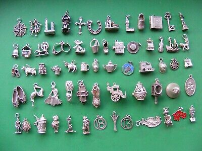 £6.99 • Buy Q) Vintage Sterling Silver Charms Charm Scooter Lion Deer Cow Lamp Shoe Boot Car