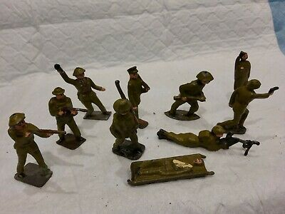 VINTAGE LEAD TOY SOLDIERS British Infantry BRITAINS CRESCENT TIMPO CHARBENS X10 • 45£