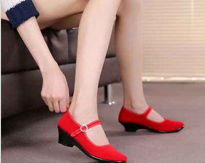 £11.42 • Buy Ladies Chinese Retro Round Toe Ankle Strap Buckle Flats Heel Work Casual Shoes