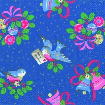 £5.99 • Buy Cath Kidston Christmas Birds Blue Paper Lunch Napkins 3 Ply 33 Cm Sq 20 Pack