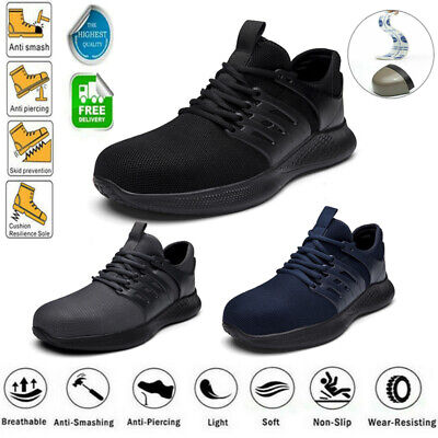 AU37.50 • Buy Mens Work Boots Safety Shoes Steel Toe Cap Lace Up Breathable Flat Sneakers UK