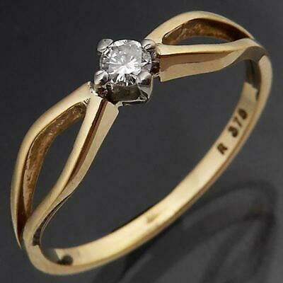 AU175 • Buy LOW Split Shoulder EVERYDAY 9k Solid Yellow GOLD DIAMOND SOLITAIRE RING Sz N