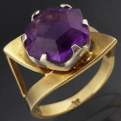 AU445 • Buy DRAMATIC Vintage Retro 1960's AMETHYST 9ct Solid Yellow GOLD COCKTAIL RING Sz N