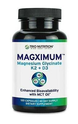 £12.74 • Buy Trio Nutrition Magnesium Glycinate Boosted With K2 D3 Vitamin Chelated W MCT Oil