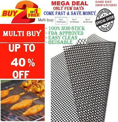 £2.65 • Buy 🔥BBQ Grill Mesh Mat Cooking Fish Meat Reusable Sheet Resistant Non-Stick Baking