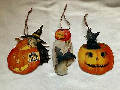 $ CDN23.75 • Buy Spooky Lot Of 3 Vintage HALLOWEEN Die-Cut DECORATIONS 1940 Images REPRODUCTION