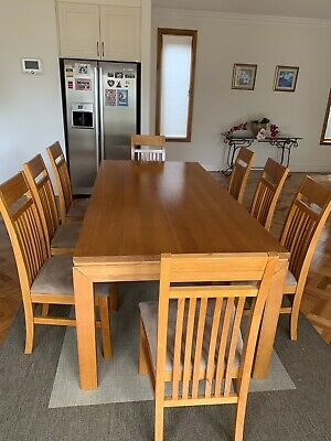 AU1200 • Buy 100% Oak 8 Seater Dining Table & Chairs