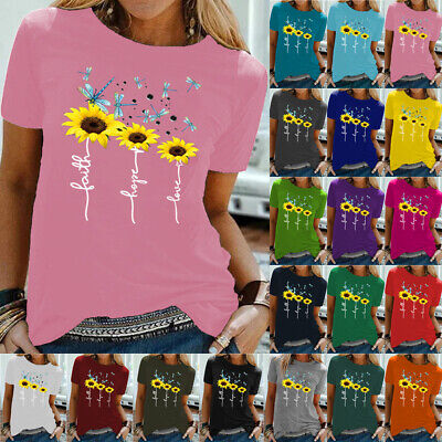 £7.99 • Buy Womens Sunflower Print T Shirt Plus Size Blouse Ladies Short Sleeve Casual Tops