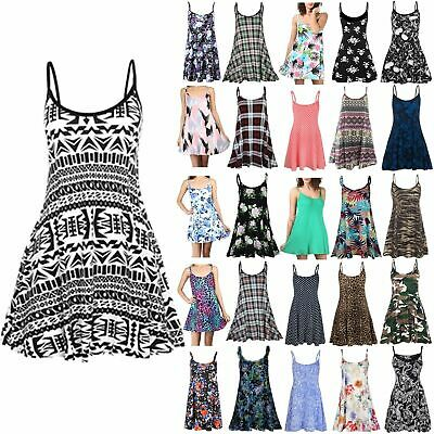 £7.49 • Buy Ladies Long Camisole Flared Sleeveless Cami Printed Strappy Swing Dress Vest Top